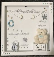 Personalised Gift Deep Box Frame No Glass Photo Frame Girl Boy New Baby Blue Keepsake